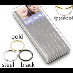 Jewelry - NOSE HOOP EARRING BLACK AND OR GOLD BRAND NEW